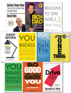 Rich Dad Poor Dad, Drive, Deep Work, 7 Habits, Reason to Stay Alive, One Thing
