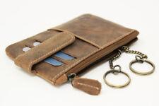 Vintage Leder Schlüsseltasche Schlüsselanhänger mit Kartenfächern Tasche braun