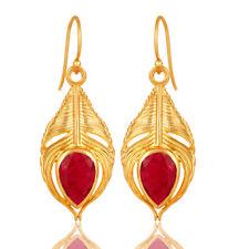 Peacock Feather Design Gemstone Dangle Earrings 925 Silver Womens Jewelry