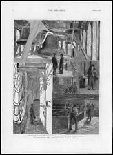 1876 Antique Print - LONDON Westminster Clock Tower Interior Belfry Dial  (18)