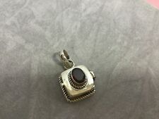 Sterling Silver pure 925 faceted Garnet semi precious pendant locket