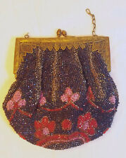 Antique Vintage Glass Bead Purse Brass Mounted Floral Handbag