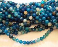 Natürliche Streifen Achat Perlen Kugel Sapphire Blau 6mm Edelsteine BEST G77