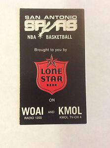 1977-78 San Antonio Spurs Basketball Pocket Schedule Original Lone Star Beer