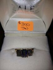 Mystic Fire TOPAZ Ring Emerald Cut with DIAMONDS 10k Yellow GOLD Size 7-EUC