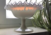"Fenton Silver Crest Sherbet Bowl Pre 1958 Opalescence Fire in Glass 3 3/4"" Tall"