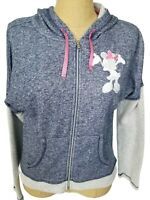 Disney Parks Womens Blue White Minnie Mouse Embroidered Zip Up Hoodie Medium