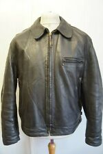 VINTAGE AERO LEATHER HORSEHIDE HIGHWAYMAN JACKET SIZE 44  BRASS TALON ZIP