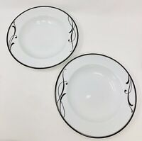 "Mikasa Set of 2 COCOA BLOSSOM 9"" Large Rimmed Porcelain Soup Bowls"