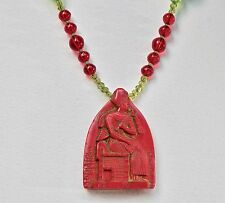 Art Deco Necklace Max Neiger Style Egyptian Revival Czech Glass Beads Red Green
