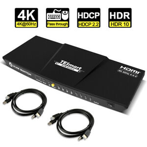 TESmart  KVM Switch 4 Port 4K@60Hz Supports Keyboard and Mouse Pass Through