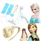 Frozen Princess Elsa Anna Gloves Tiara Crown Braid Wig Hair Wand Kid CV