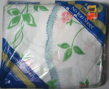 TWIN FITTED SHEET - Pink Salmon Mums & Morning Glory Flowers by Dan River - NIP