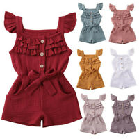 Infant Toddler Baby Kids Girl Boy Ruffle Bow Romper Jumpsuit Playsuit Outfits AU