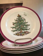 5 Copeland Spode Christmas Tree Red Wine Rim Dinner Plates