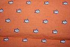 Southern Tide Printed 100% Cotton Flat Sheet Twin Skipjack Sea Coral Fish Fabric