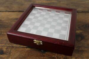 Scacchiera VINTAGE apribile IN legno e vetro a specchio 21x21cm scacchi Gioco