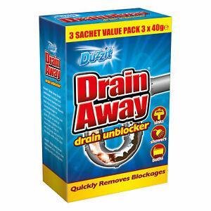 Drain Away Unblocker Quick Remove Blockage Bath Shower Sink Drain