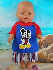 """Dolls clothes for 17"""" Baby Born boy doll~MICKEY MOUSE TOP & STRIPED SHORTS SET"""