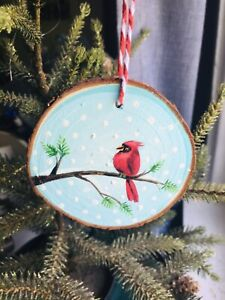 Cardinal Wood Slice Ornaments Decoration Gift Tag  Christmas Ornament