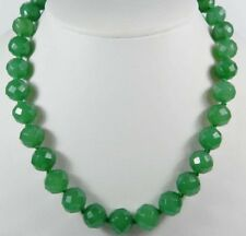 Real!10mm Green Emerald Faceted Round Beads Necklace 22inch AAA++