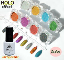 8Colors Holo Laser DIY Nail Powder Glitter Set Chrome Pigments with Top Coat Gel
