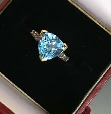 Vintage 9ct Gold Ladies Solitaire Topaz & White Topaz Stone Ring W 4.4g Size N
