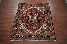 $1 NR Heriz Serapi 8X10 Persian Hand-Knotted Wool Area Rug Oriental Carpet