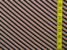 BLACK RED & WHITE DIAGONAL STRIPES 100% POLYESTER FASHION FABRIC BY THE 1/2 YARD
