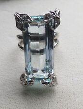 Estate Huge 17.10 carat VVS Aquamarine & diamond Platinum & Silver ring Sz 6.5-7