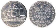 5 ZLOTYCH 1936 BARCA A VELA SAILING SHIP POLONIA POLAND ARGENTO SILVER #6337A