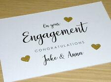 Engagement congratulations card - Personalised - black & gold - handmade