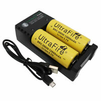 2pcs 26650 Battery 12800mAh 3.7V Li-ion Rechargeable BRC and USB 2 Slots Charger