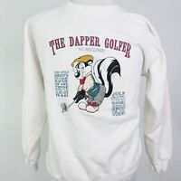VTG 1993 PEPE LE PEW THE DAPPER GOLFER WHITE PULLOVER CREW NECK SWEATSHIRT SZ XL