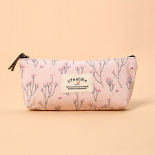 Kawaii Floral Flower Canvas Pencil Cases Vintage Tree Pen Bag Makeup Storage Bag
