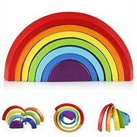 Coogam Wooden Rainbow Stacker Geometry Building Blocks Preschool Learning Toy