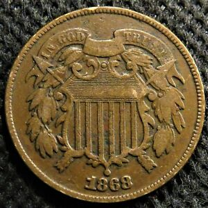 1868 Two cent piece with some sharp details