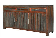 "68"" L Buffet Table Reclaimed Wood Distressed Red dark brown Finish Rustic unique"