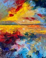 Sunset Sea Seascape Oil Painting Impressionism Texture Nautical Ocean Shore