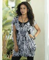 Midnight Velvet Amazon Print Cocoon Tunic Top Summer Blouse 1X 2X 3X Plus Black