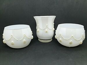 Three Pearlescent White Decorative Glasses with Pearl Garlands - Wedding Ware.