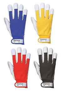 Portwest A250 Pig Leather Tergsus Work Glove Safety Light Industries - 6 or 12