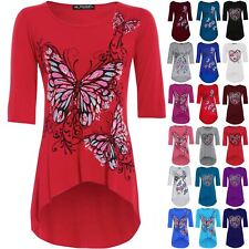 Womens High Low Top Ladies 3/4 Sleeves Butterfly Print Dip Hem Tunic Plus Size