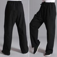 KUNG CHI Pantalones Informales Negro de algodón FU ARTES Fit Hombre Gimnasio
