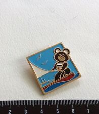Pin Moscow Olympic Games 1980 Mishka Sailboat Voilier. Russia Badge Metal. Rare.