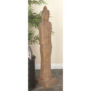"Large Tall Standing Thai Buddha Sculpture Rustic Statue Boho Floor Figurine 48""H"