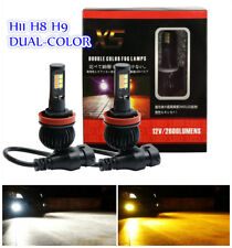 2PCS H11 H8 H9 160W LED 6000K White/3000K Orange Dual Color Fog Light DRL Bulb