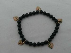 Estate 10K Gold & Onyx Small Stretchy Bracelet