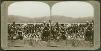 Troops enjoy a bathe after a long day's march away from crocodiles - Stereoview