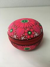 "HAND PAINTED  CERAMIC JEWELRY BOX , ONE OF A KIND ,MADE IN MEXICO , 4"" X 3"" ,#02"